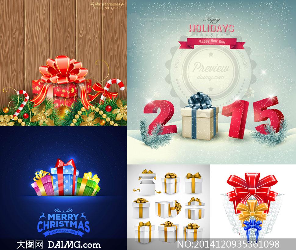 圣诞节松树枝与礼物包装等矢量素材
