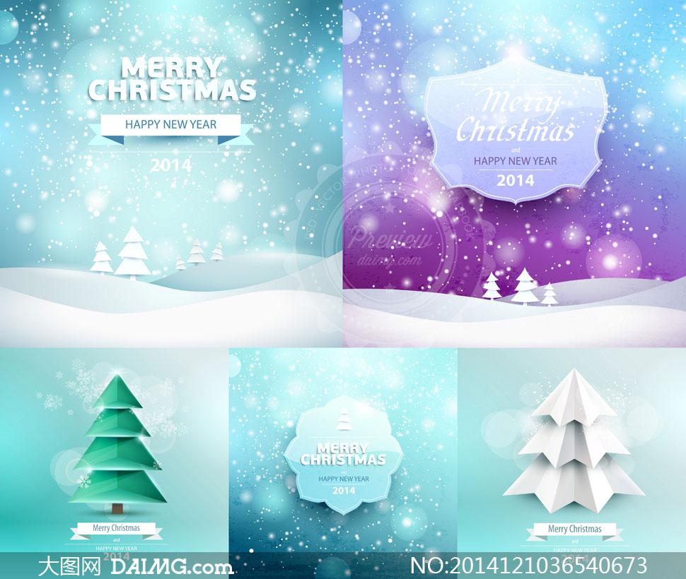 雪花背景与圣诞树创意设计矢量素材
