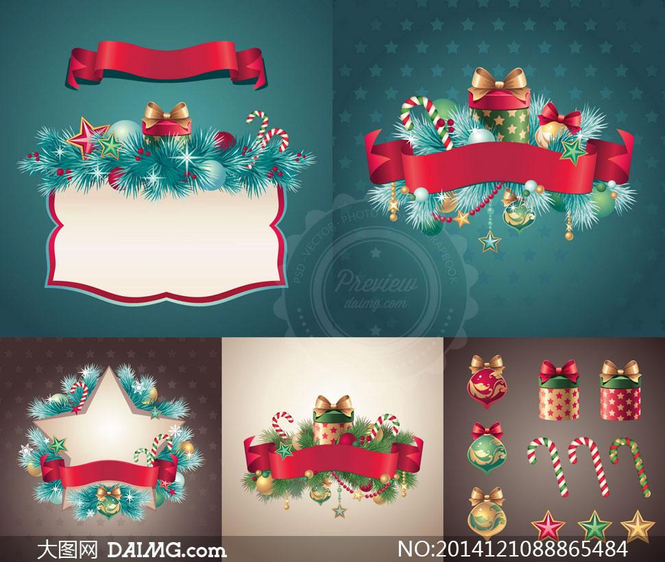礼物盒与边框松树枝等圣诞矢量素材