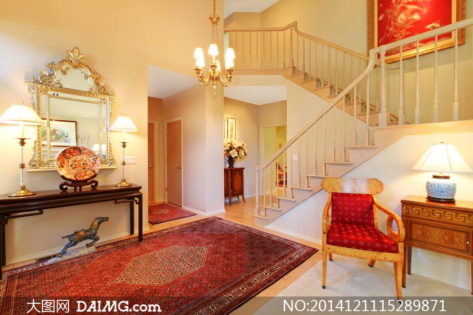 欧式别墅房间内景摆设摄影高清图片