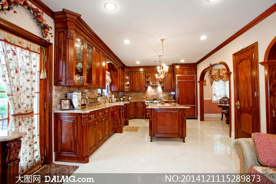 欧式厨房豪华内景布置摄影高清图片