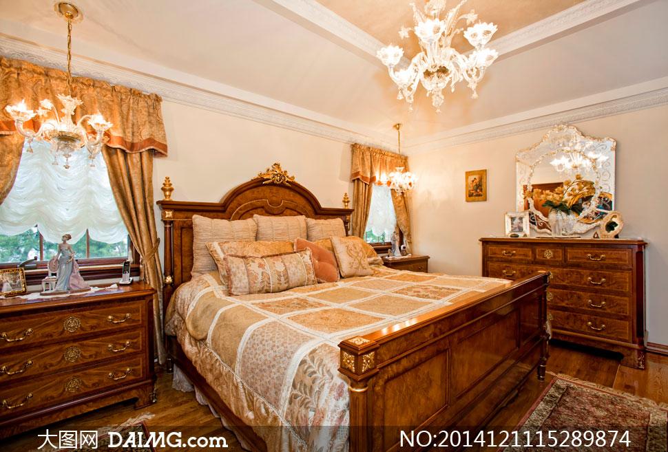 陈设摆设陈列内景家具欧式卧室窗帘抽屉柜大床枕头