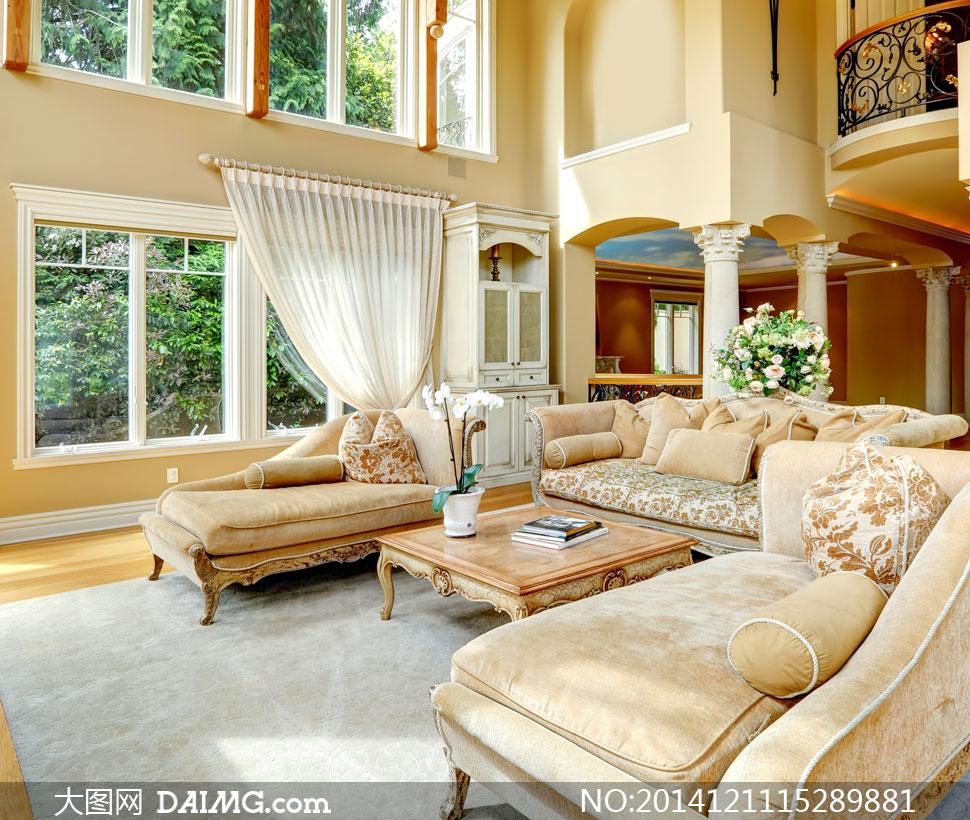 欧式豪华别墅客厅家具摄影高清图片