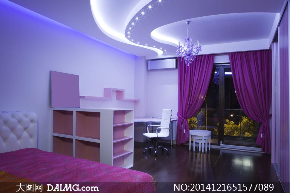 裝飾家裝渲染圖家居效果圖陳設擺設陳列內景家具房間臥室書房紫色窗簾