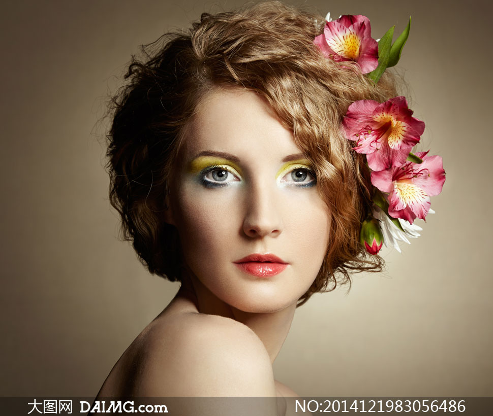 彩妆短发美女人像写真摄影高清图片