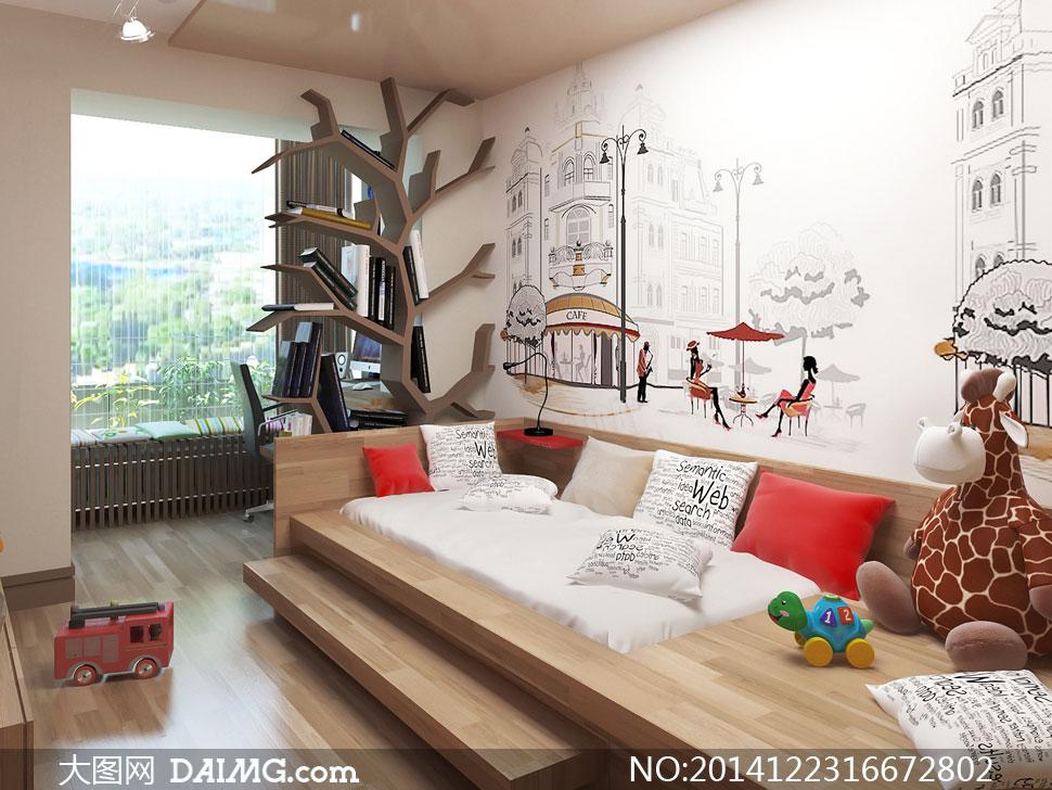 房间里的创意书架与玩具等高清图片