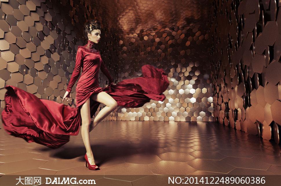 身穿红色长礼服的美女摄影高清图片 大图网设