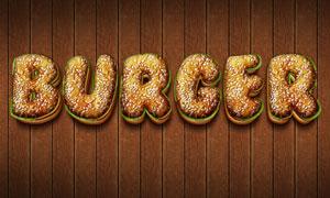 超酷的3D汉堡字体PSD字体模板