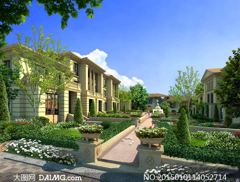 花园式别墅景观效果图PSD分层素材