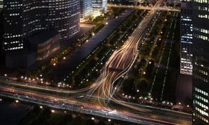城市摩天大楼夜晚景观PSD分层素材