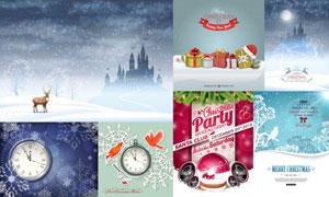 雪花图案背景与礼物盒创意矢量素材