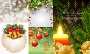 圣诞节吊球蜡烛与铃铛装饰矢量素材