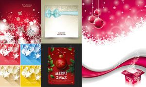 圣诞雪花图案背景与蝴蝶结矢量素材