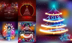 炫丽彩灯装饰与雪花图案等矢量素材