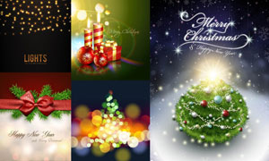 蜡烛吊球礼物盒等圣诞主题矢量素材