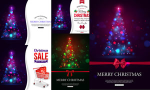 炫丽光效圣诞树等海报设计矢量素材