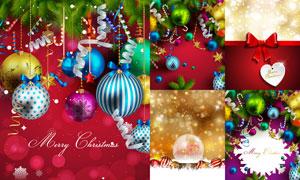 圣诞炫丽光效背景与吊球等矢量素材