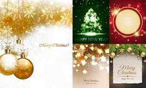 金色圣诞节挂球等创意设计矢量素材