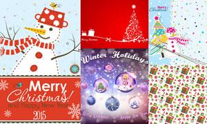 圣诞树与雪人等圣诞节主题矢量素材