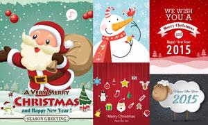 圣诞老人雪人与卡通羊创意矢量素材