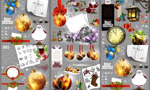 挂球与圣诞老人等圣诞主题矢量素材