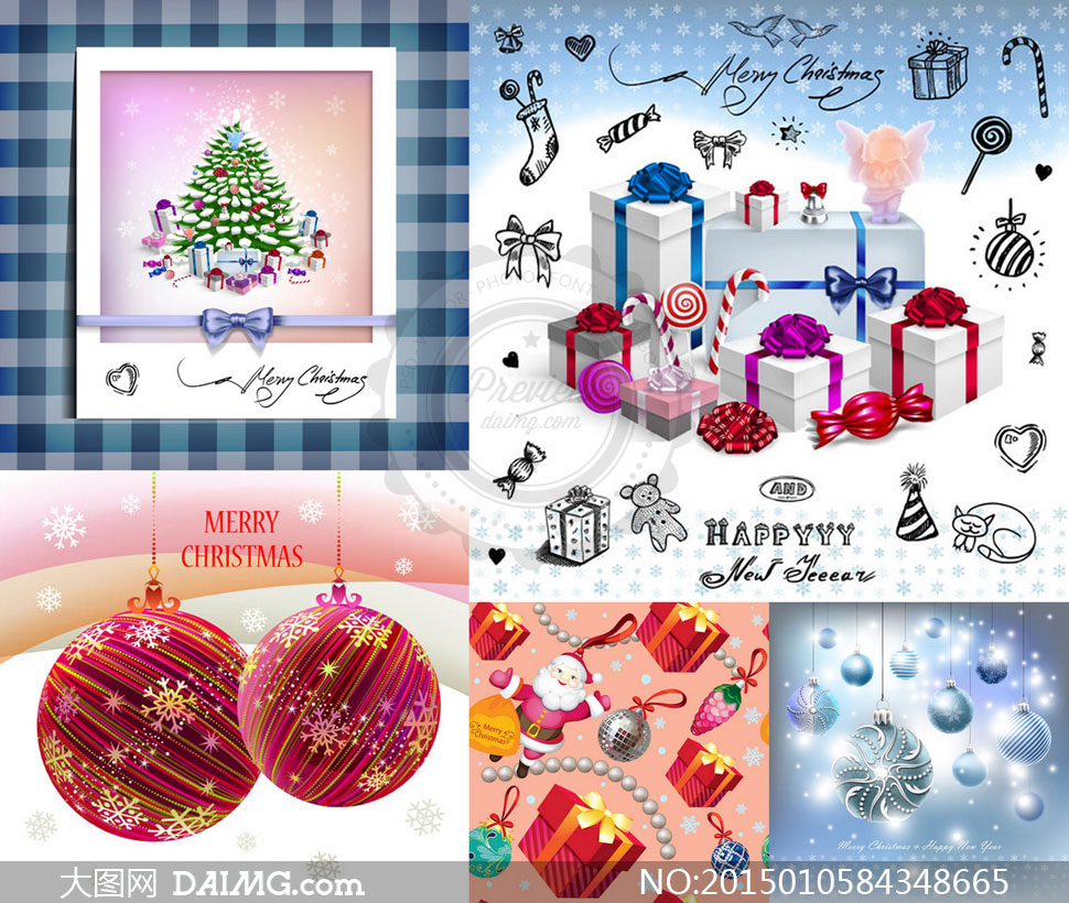 礼物盒包装与手绘圣诞元素矢量素材