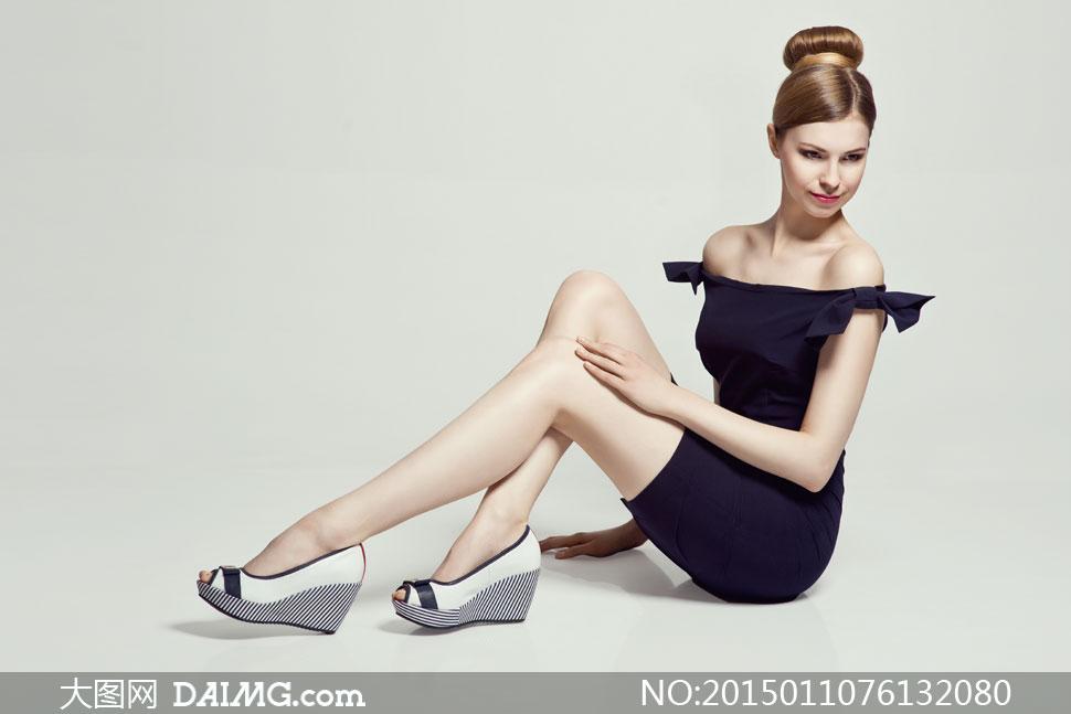 高清摄影大图图片素材人物美女女人女性模特发型发髻盘发盘头坐着