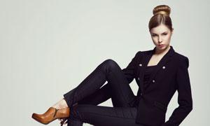 黑色装扮服饰美女模特摄影高清图片