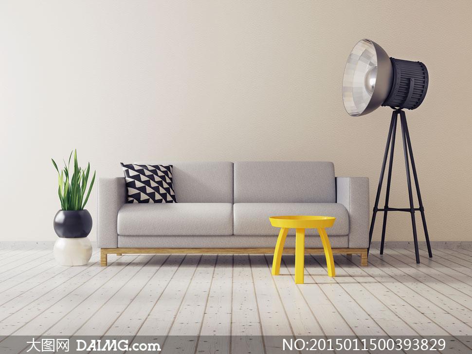 凳子沙发抱枕与植物等摄影高清图片