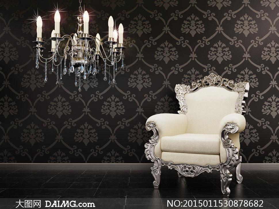 墙纸与欧式沙发等摄影高清图片