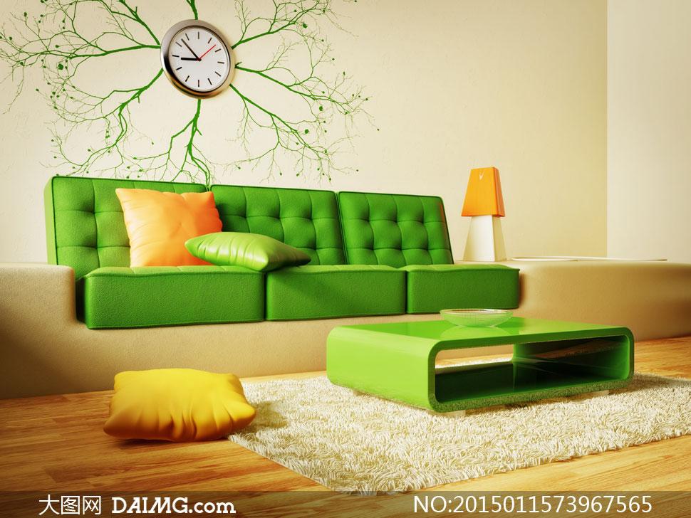 效果图陈设摆设陈列内景家具木地板挂钟花纹墙纸地毯绿色枕头橙色黄色