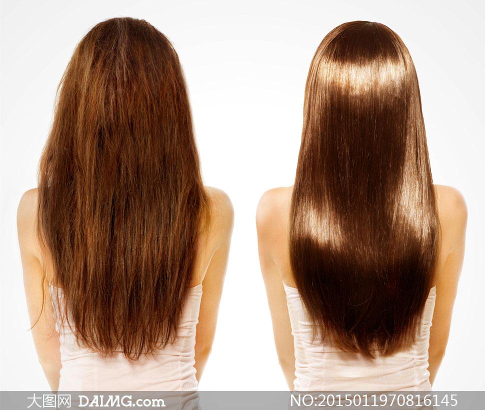 头发护理效果前后对比摄影高清图片