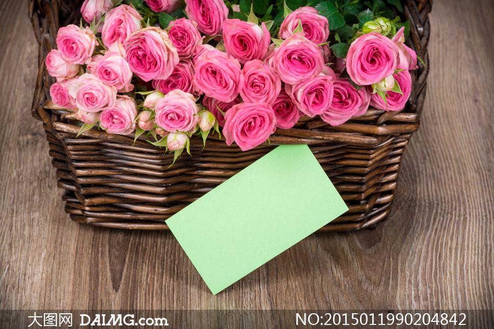 素材鲜花花朵花卉玫瑰花粉红色木板木纹花篮篮子空白