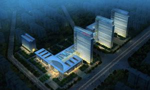 医院大楼夜景灯光照明PSD分层素材
