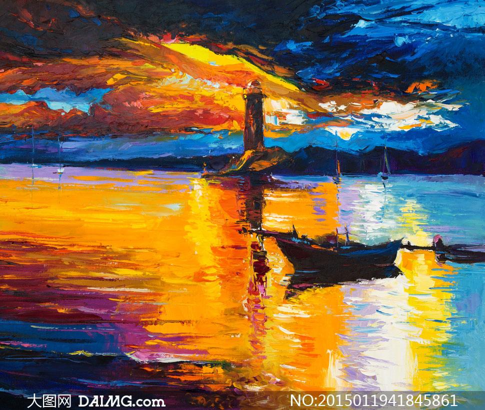 关键词: 高清大图素材图片文化艺术油画美术绘画小船木船船只天空