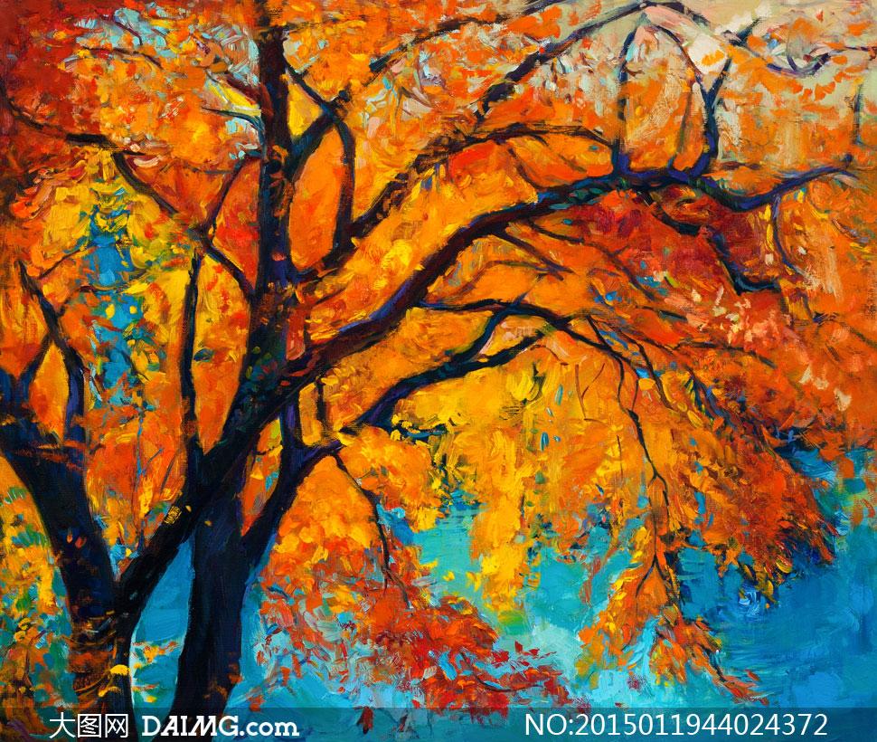 秋天大树上的黄色树叶油画高清图片