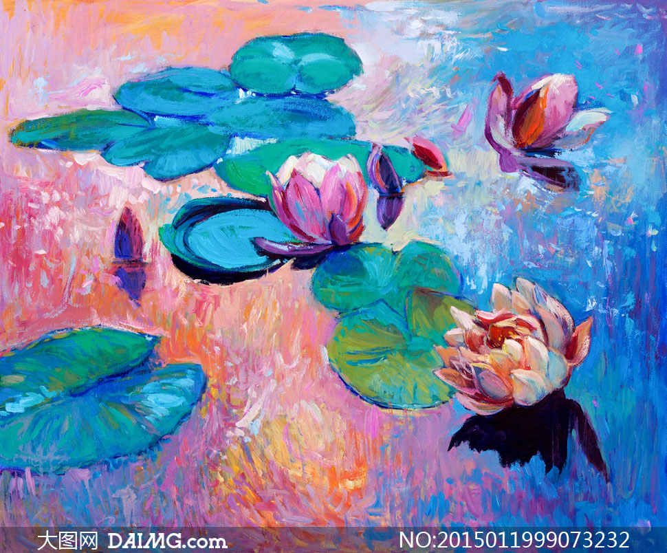 水面上的荷花荷叶油画设计高清图片图片