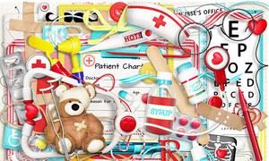 红心听诊器与创可贴等欧美剪贴素材