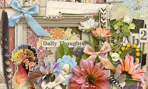 书本钥匙花朵与蝴蝶结欧美剪贴素材