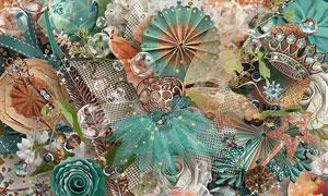 布花边框南瓜与丝带等欧美剪贴素材