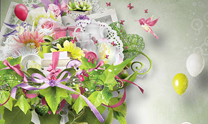 鲜花绿叶纽扣与小鸟等欧美剪贴素材