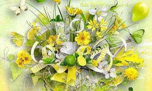柠檬鲜花蝴蝶与边框等欧美剪贴素材