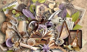 缎带与纸花等怀旧风格欧美剪贴素材