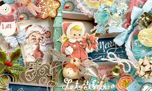 纸花边框等圣诞节主题欧美剪贴素材