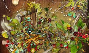 绿叶樱桃帽子与花朵等欧美剪贴素材
