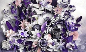 纸花树叶折扇与缎带等欧美剪贴素材