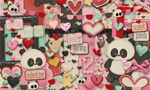 蝴蝶结心形与可爱熊猫欧美剪贴素材