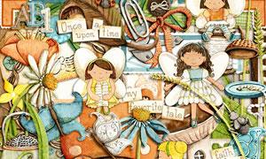 蘑菇房树木与卡通儿童欧美剪贴素材