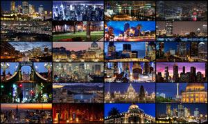 25张城市夜景淘宝海报背景图片素材
