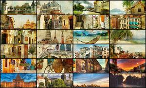 25张淘宝欧式建筑全屏海报背景图片